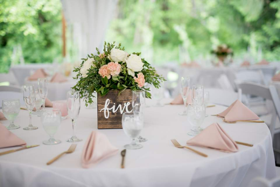soft pink wedding reception tables