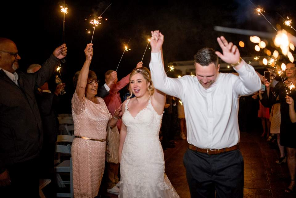 sparkler exit from rock creek gardens wedding