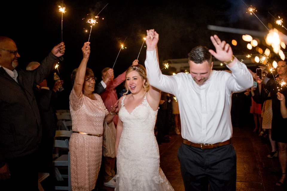 sparkler exit from rock creek gardens wedding