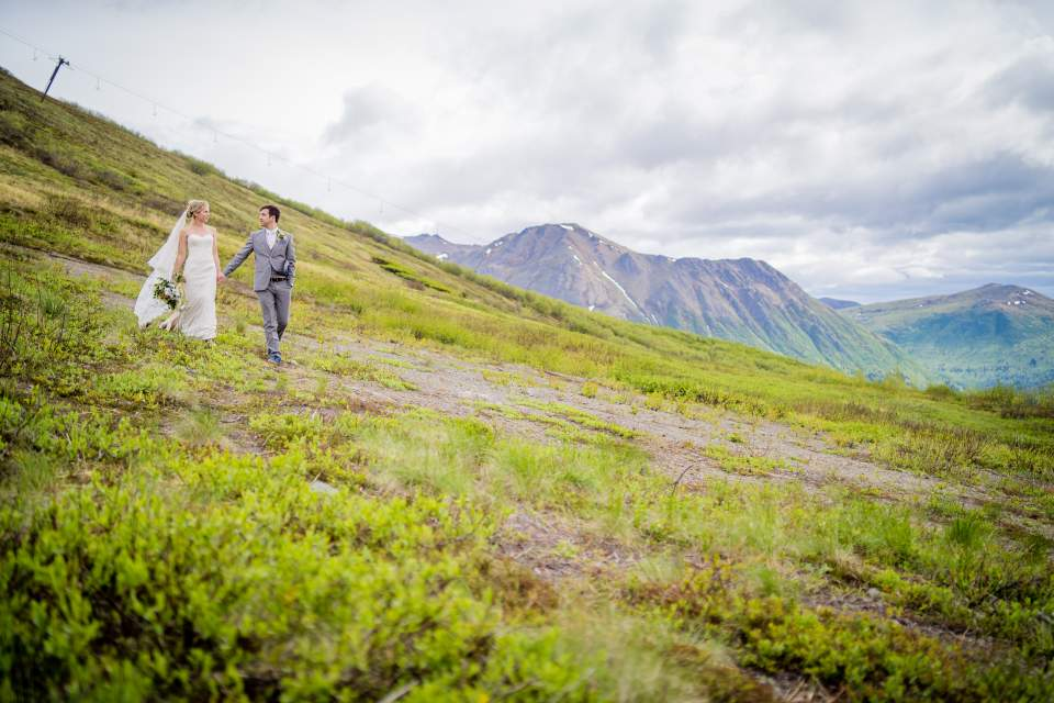 adventurous bride and groom mountain wedding in alaska