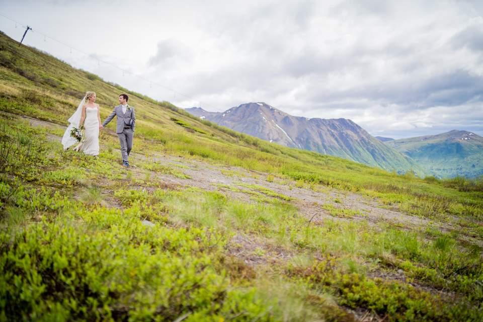 adventurous bride and groom mountain wedding in alaska