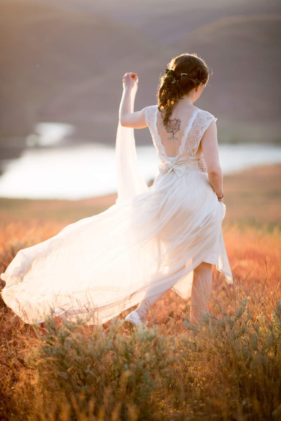 adventurous bride in boho dress