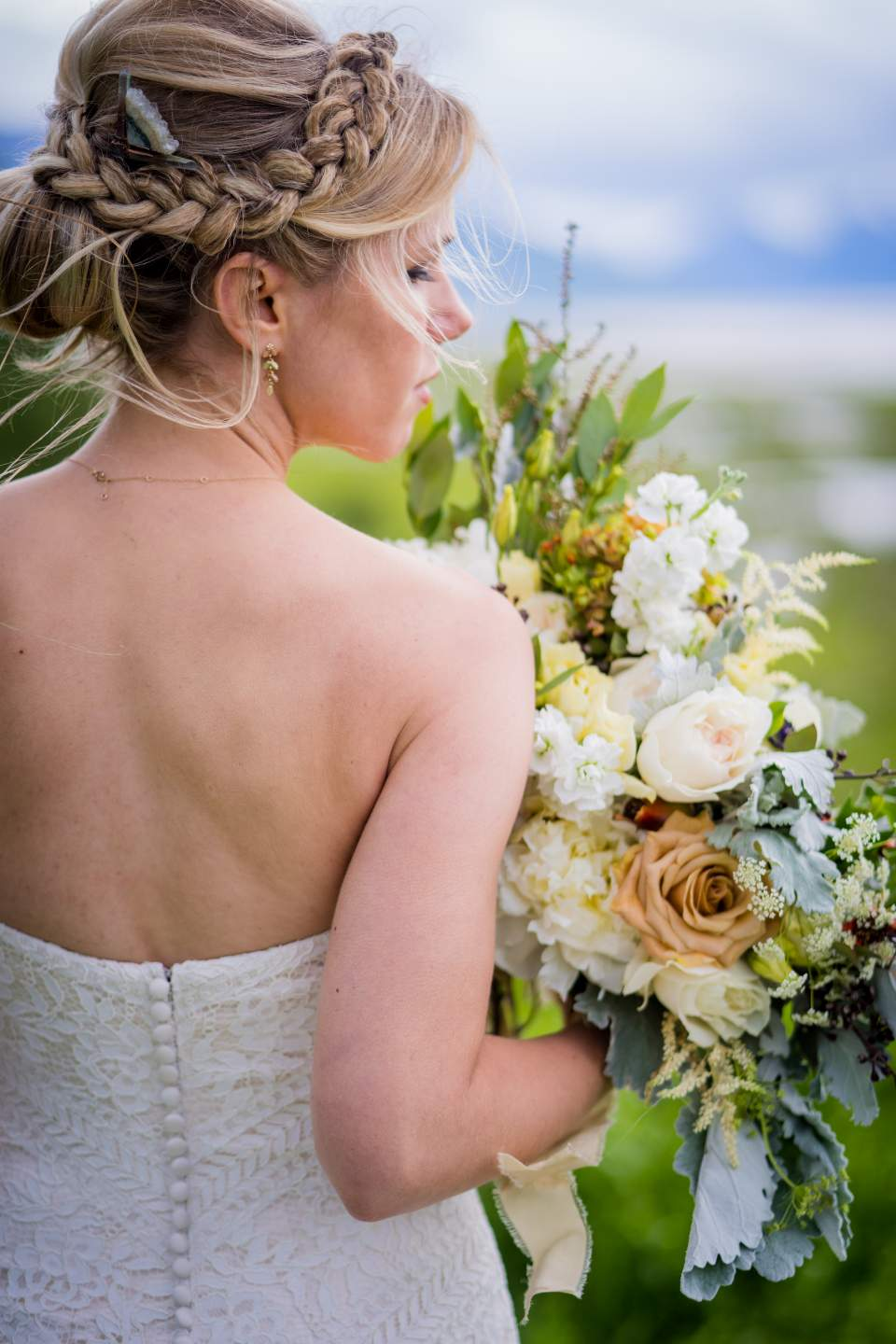 adventurous bride on windy anchorage wedding day