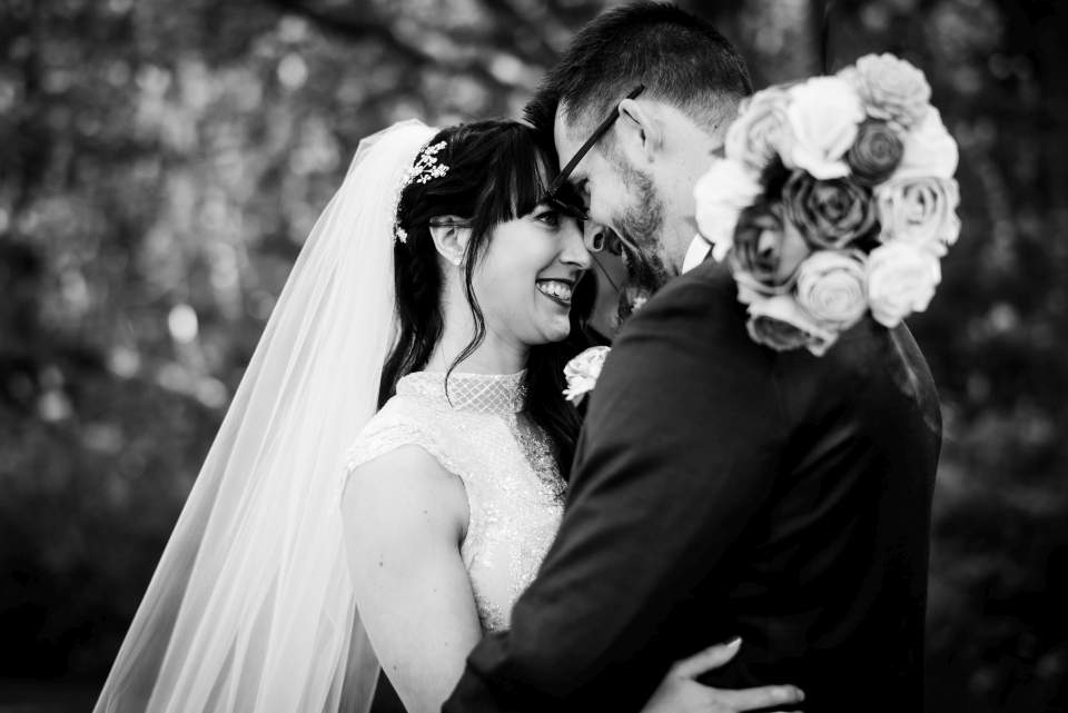 black and white wedding photo in discovery park