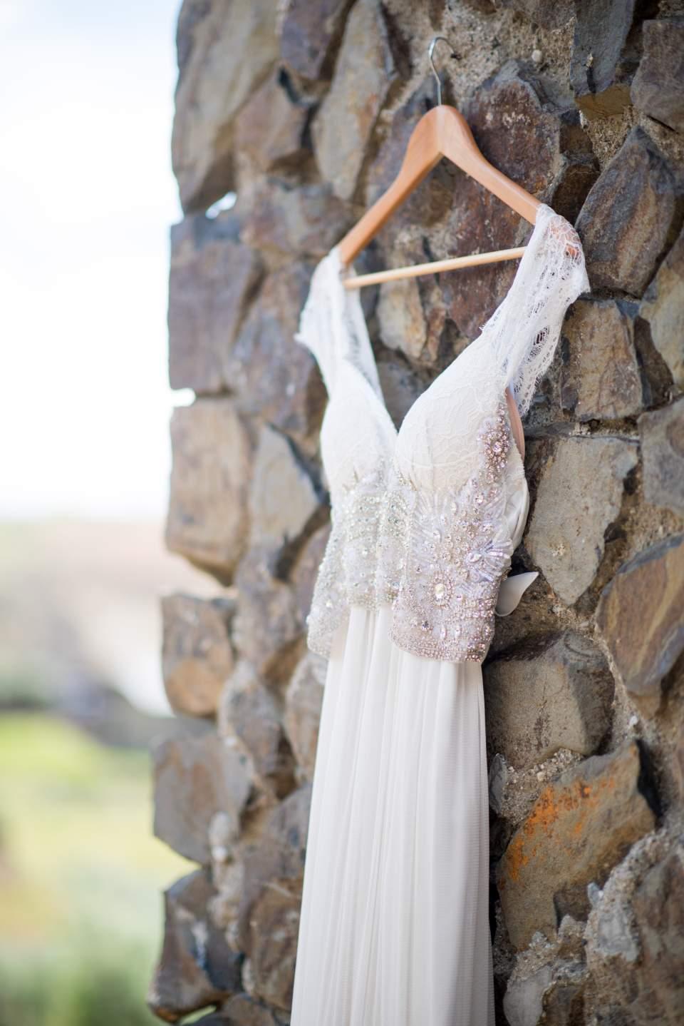 boho wedding dress hanging