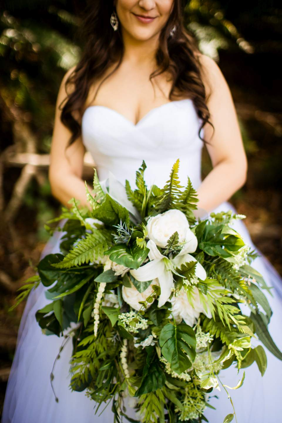bridal bouquet greenery ferns forest wedding