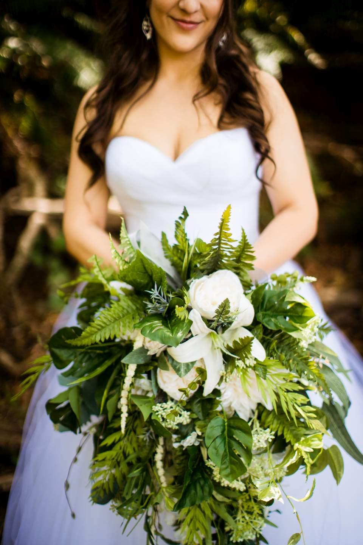 bridal bouquet greenery ferns forest wedding