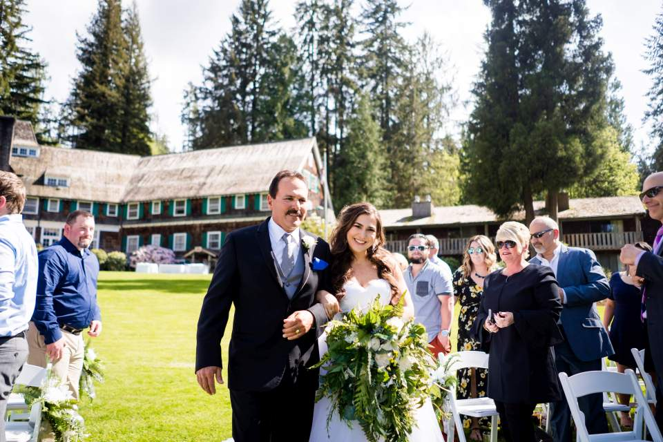 bride and father walking down isle lake quinault lodge olympic national park