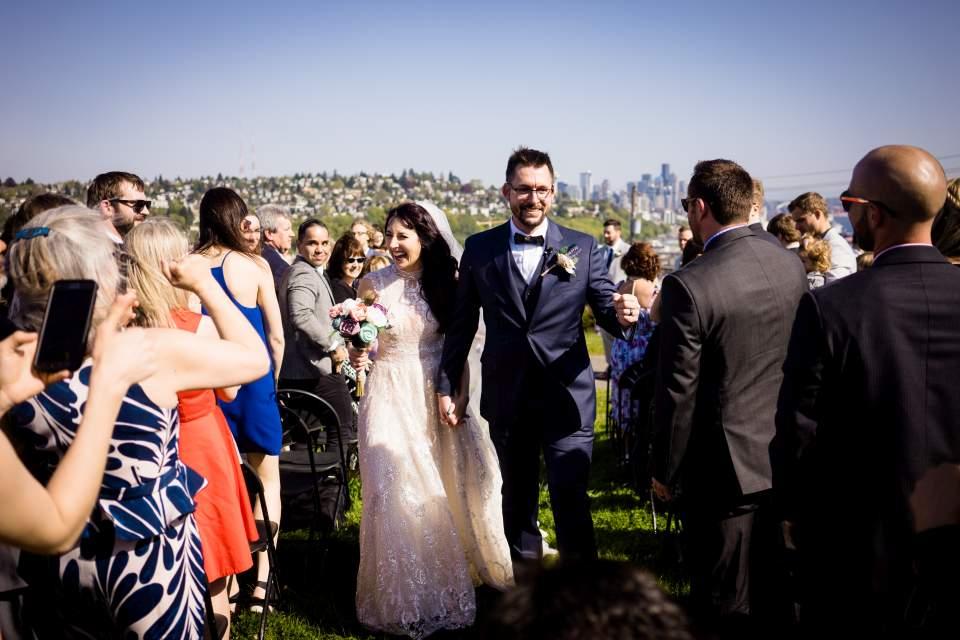 bride and groom celebrate