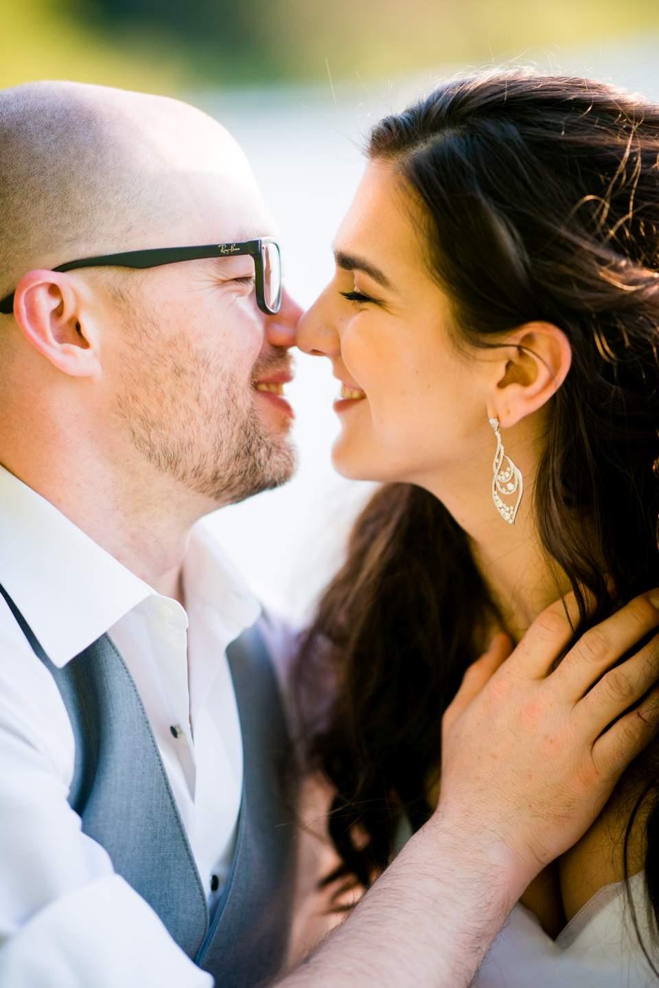 bride and groom ebracing