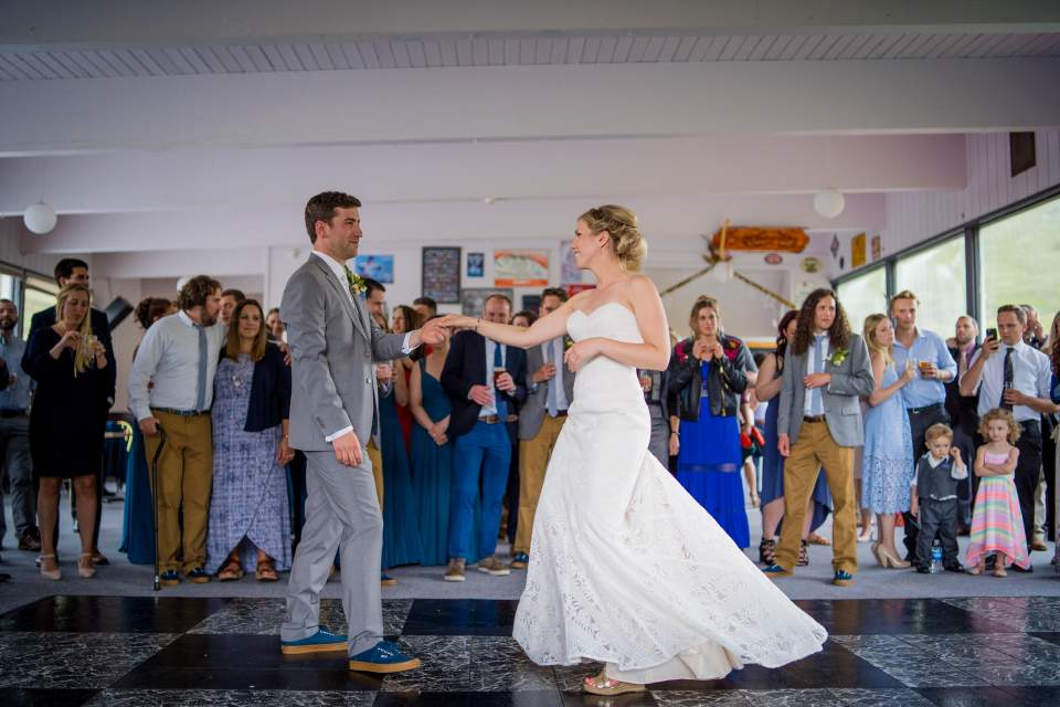 bride and groom first dance at alpenglow lodge