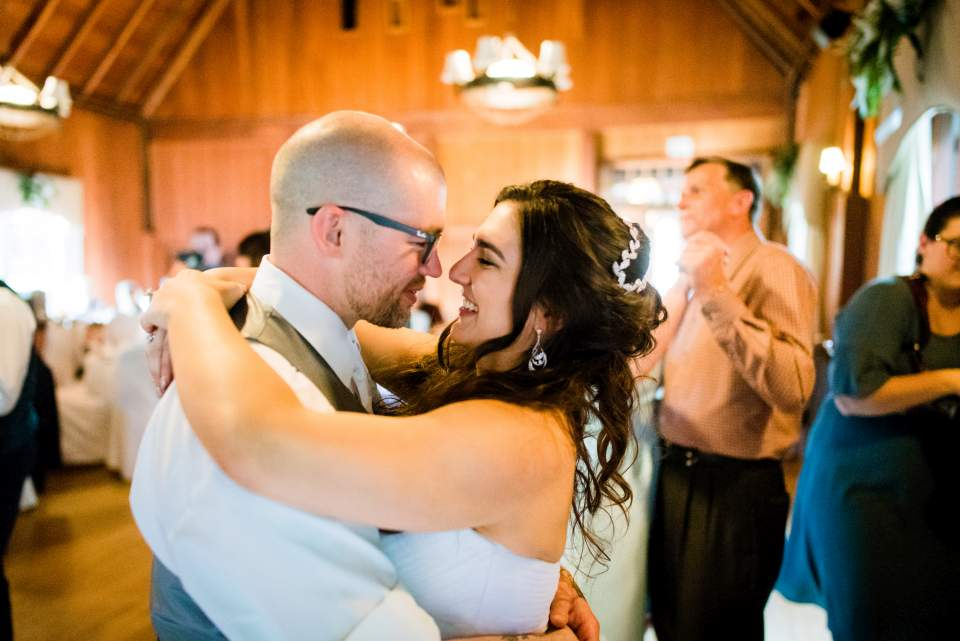 bride and groom first dance lake quinault lodge