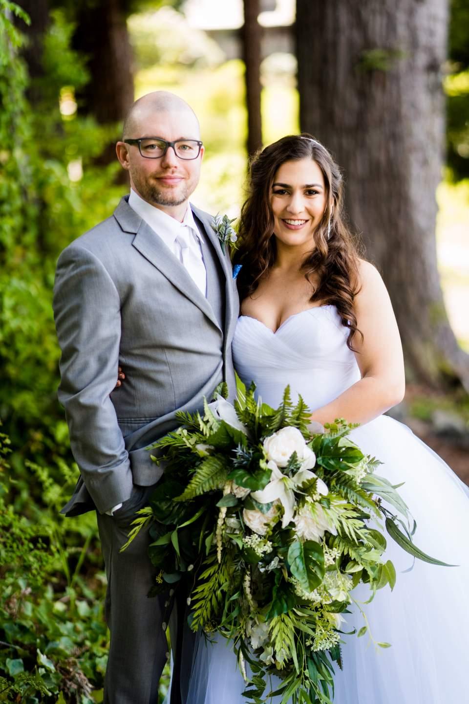 bride and groom portrait lake quinault lodge
