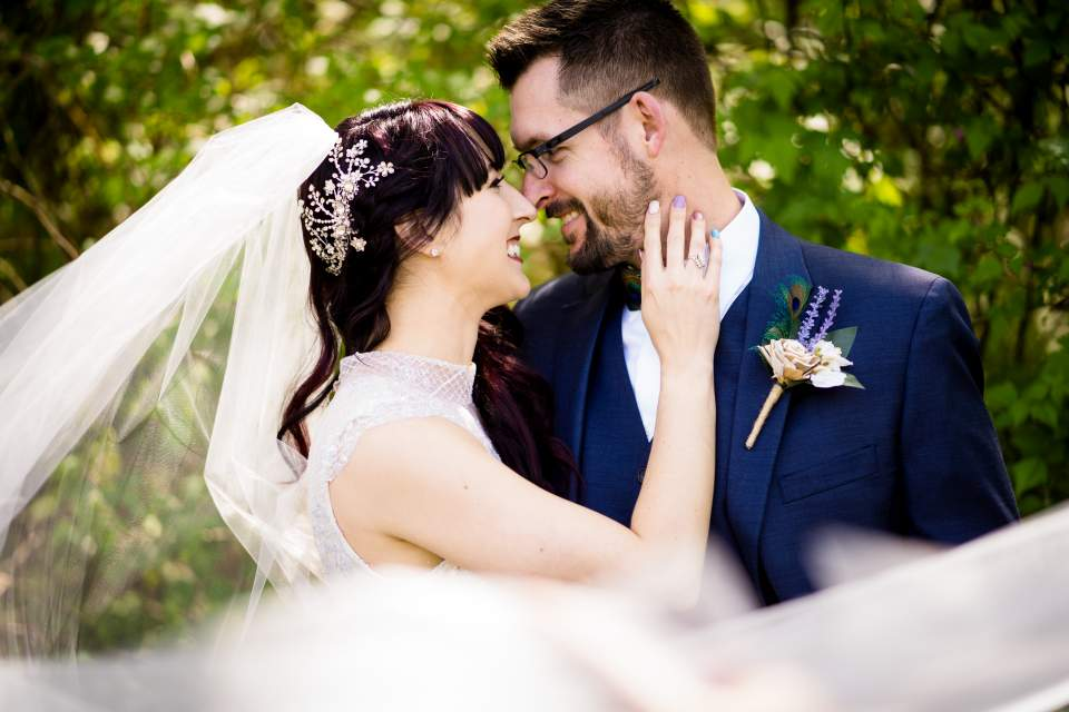 bride and groom portraits in discovery park