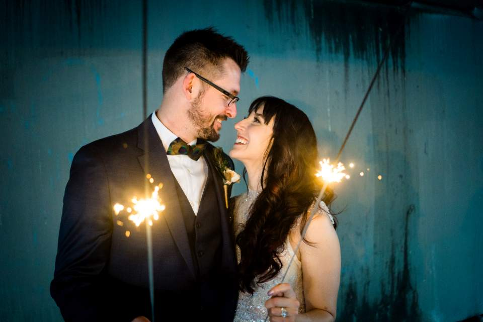 bride and groom sparkler photos