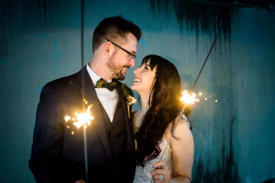 bride and groom sparkler photos