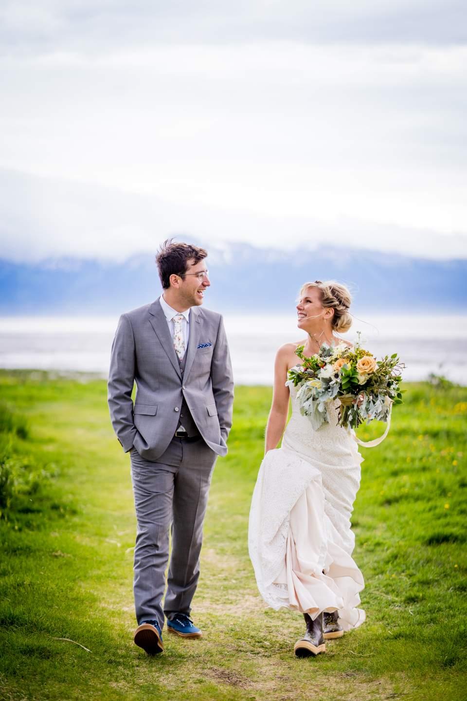 bride and groom walking together 1
