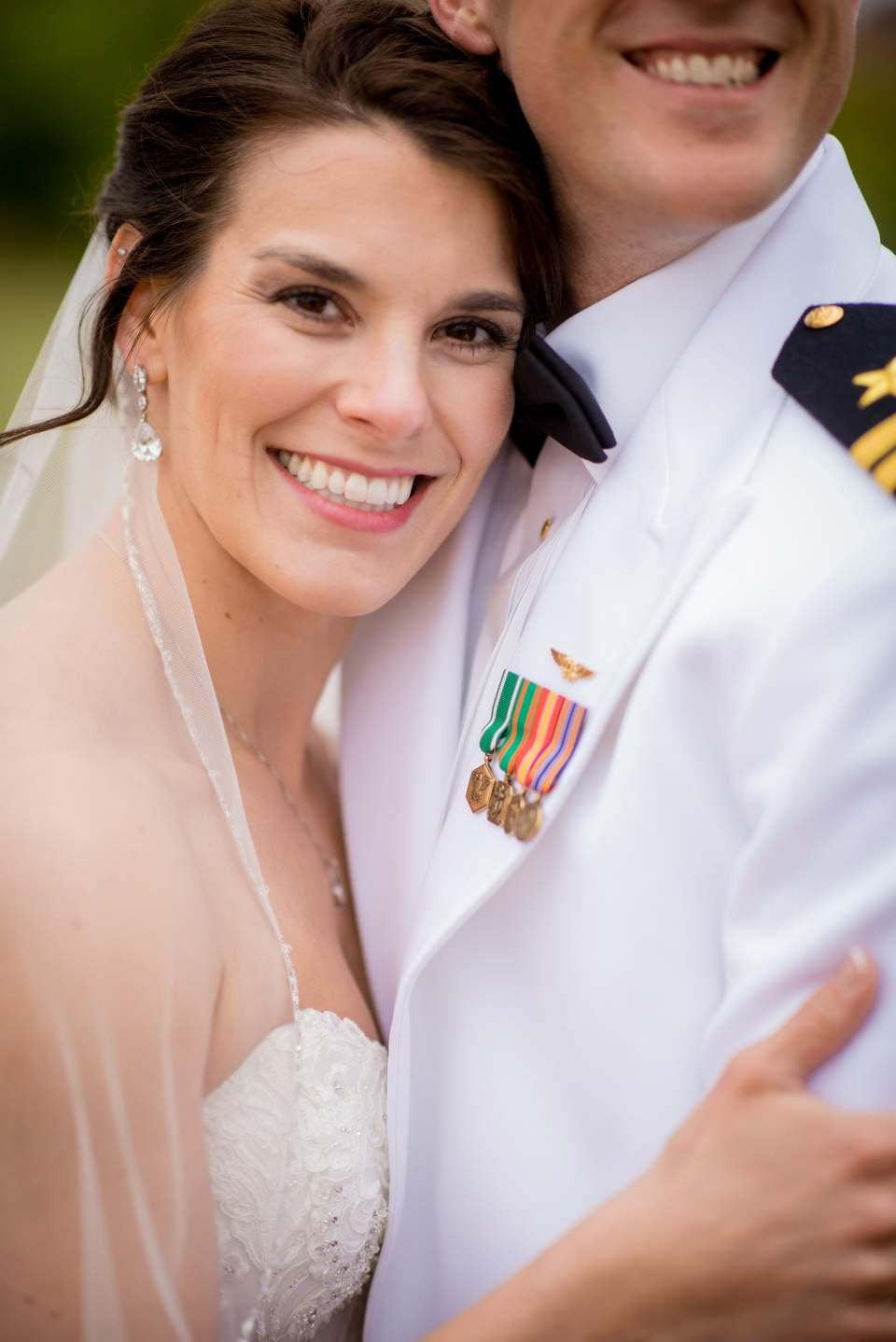 bride close up hugging groom
