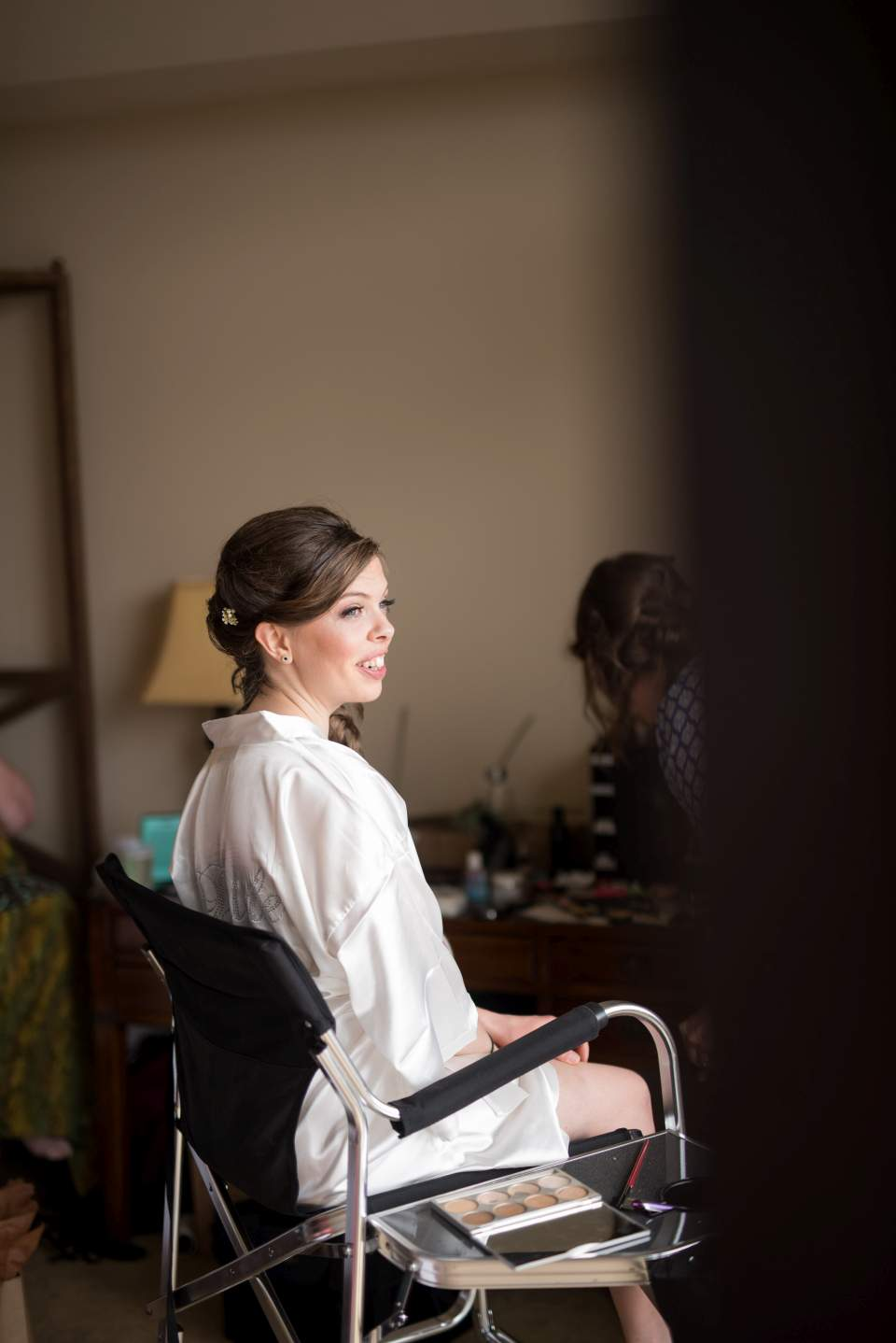 bride getting ready in room