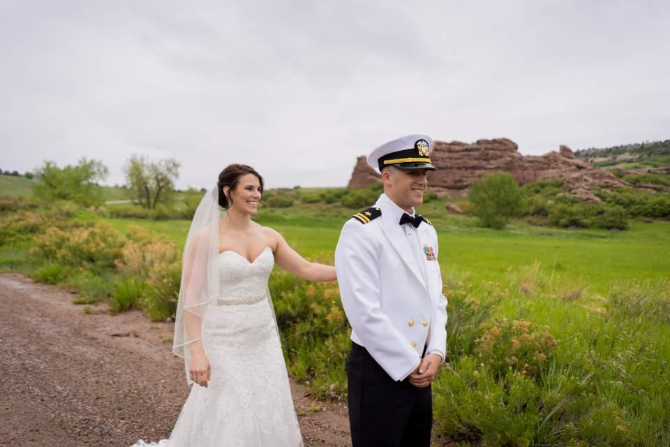 bride surprising groom during first look