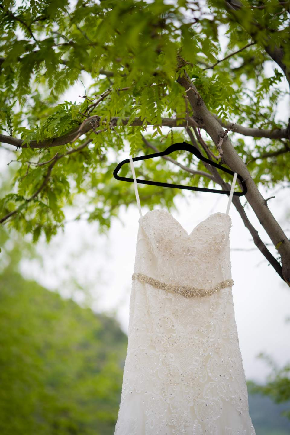 brides dress hanging