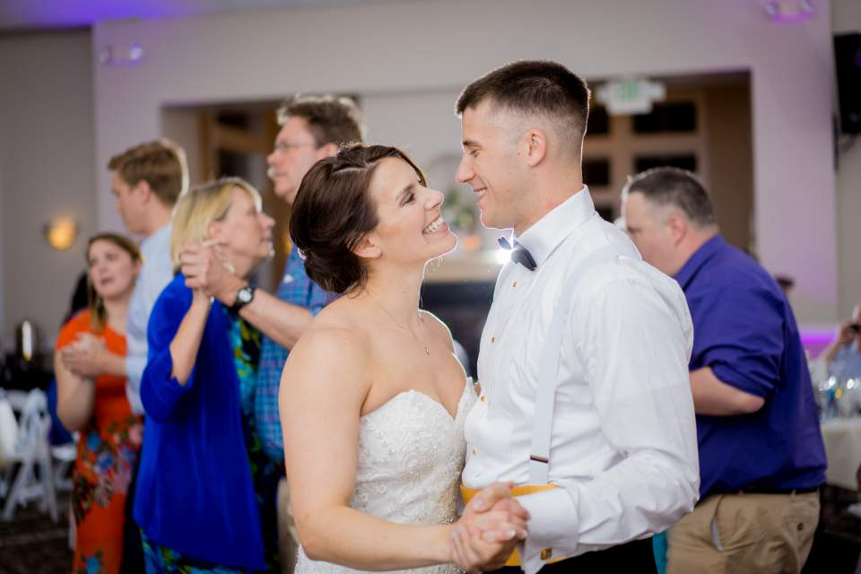 couple dancing at their wedding reception