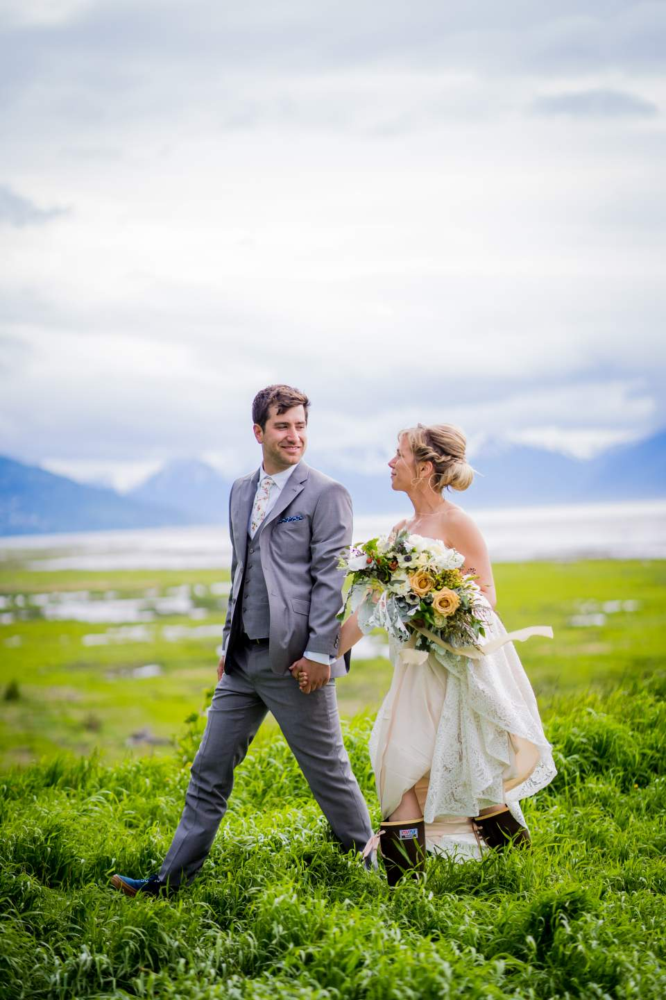 couple walking together anchorage alaska wedding