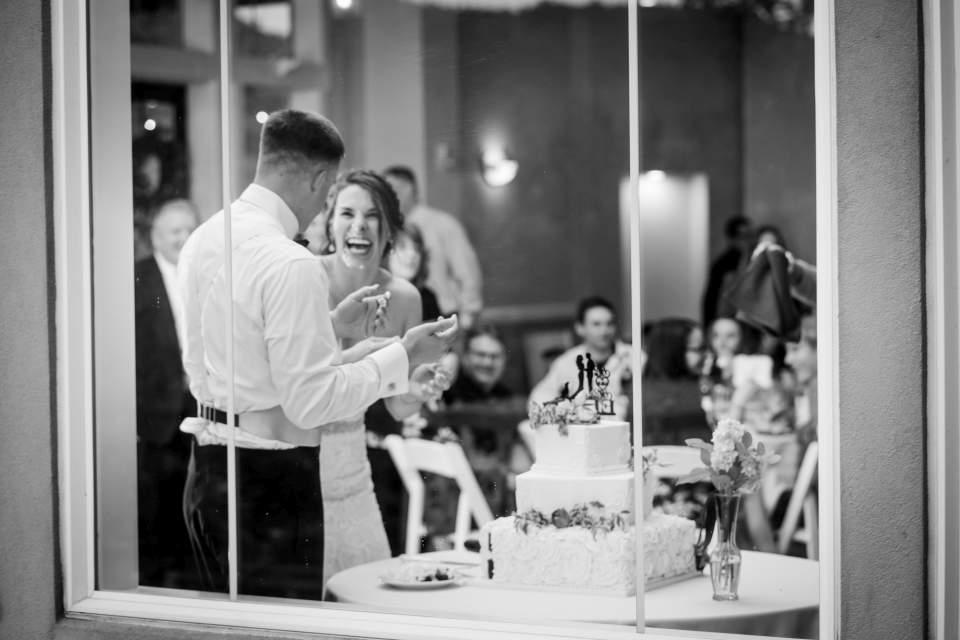 creative photo of cake cutting through window