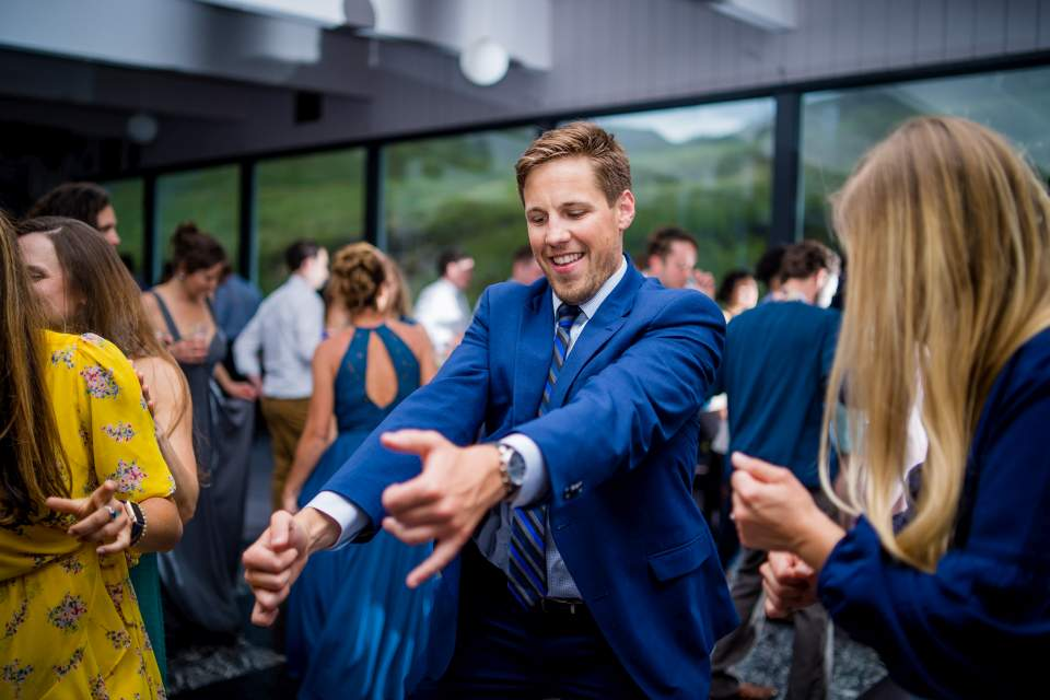 dance party at wedding reception