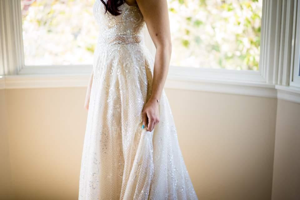 details of brides dress