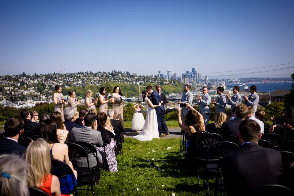 ella bailey park wedding ceremony overlooking seattle