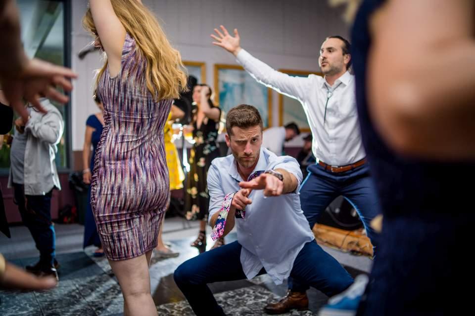 fun dance floor photos at wedding