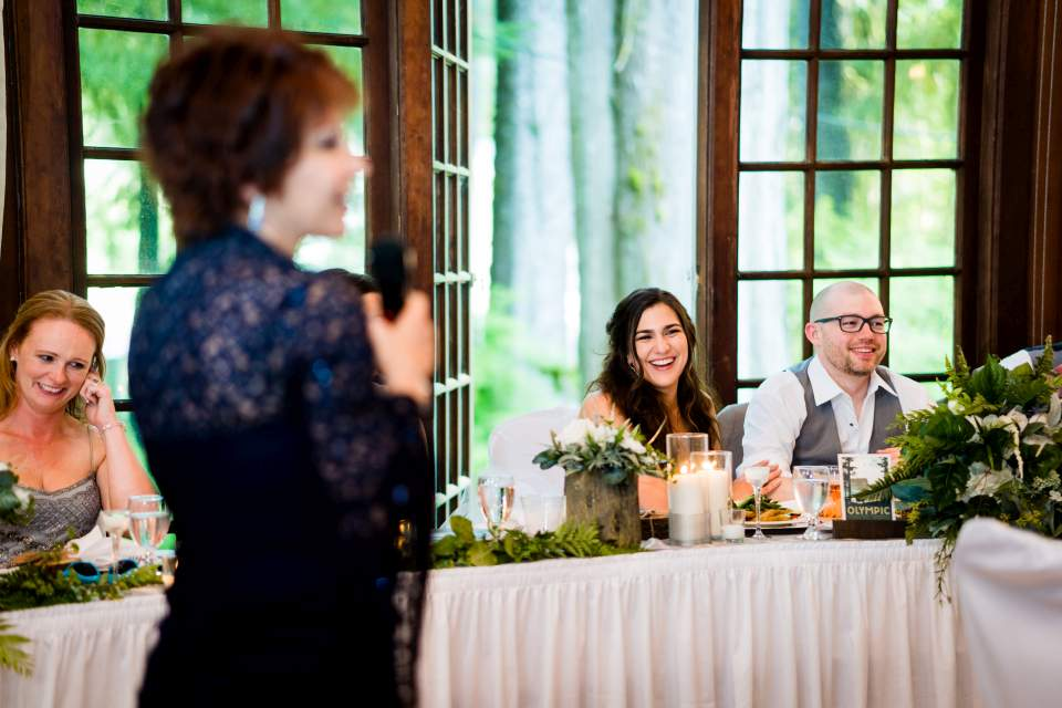 grandmother toasting wedding reception