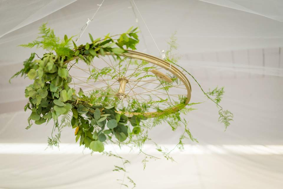 greenery hoop wedding decor