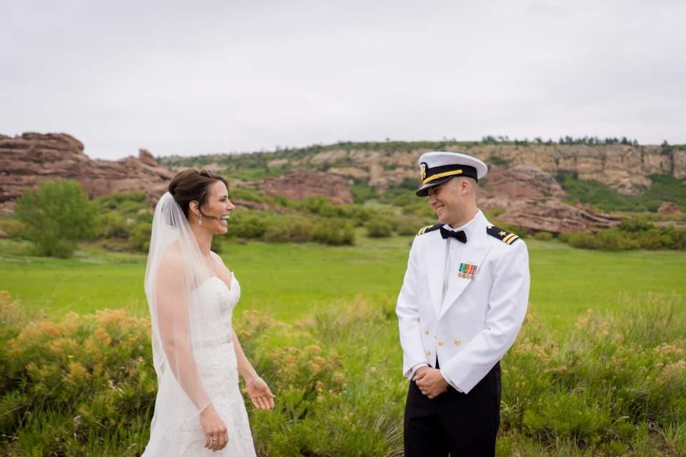 groom first look reaction