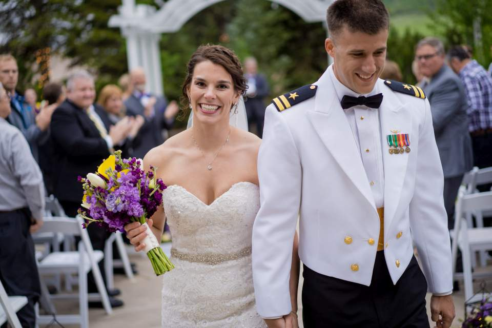 happy bride and groom after being married