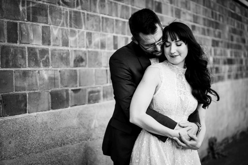 industrial bride and groom photos in sodo
