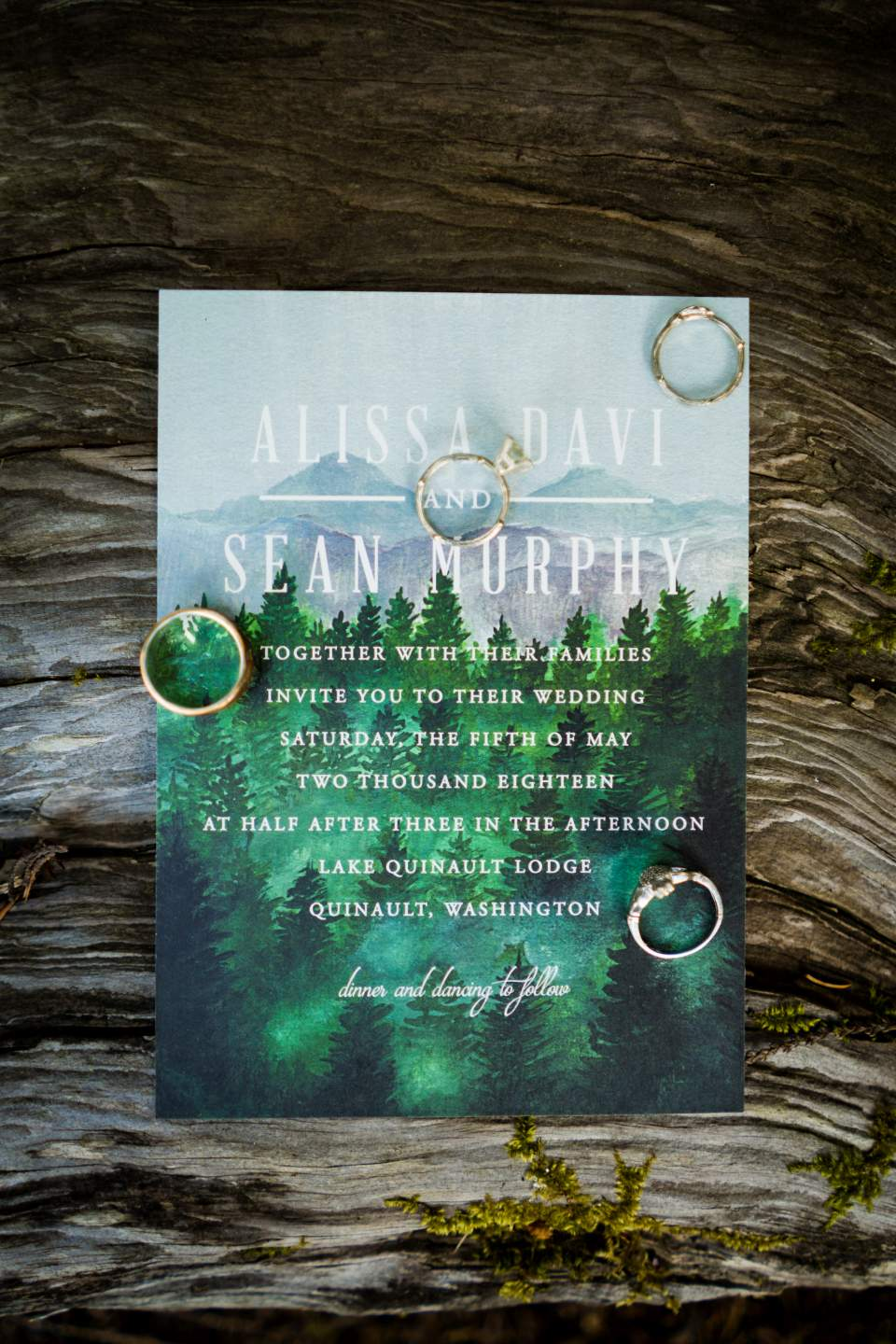 lake quinault lodge wedding invitations and rings