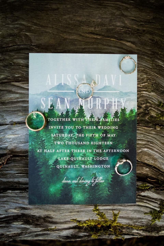 lake quinault lodge wedding invitations and rings