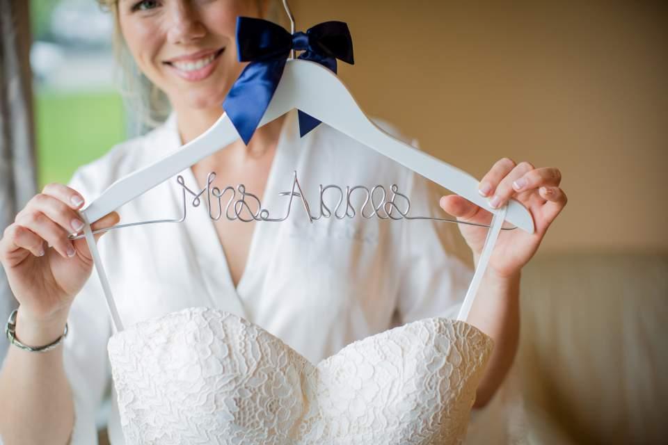 last name wedding hanger for dress