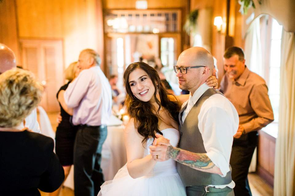 newly married couple first dance rustic lodge