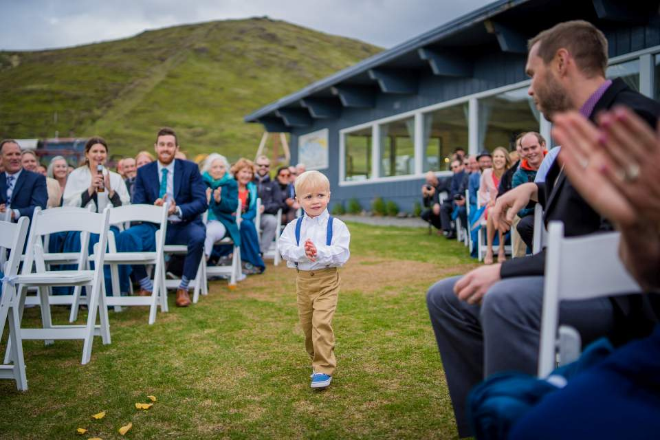 ring bearer walking down aisle