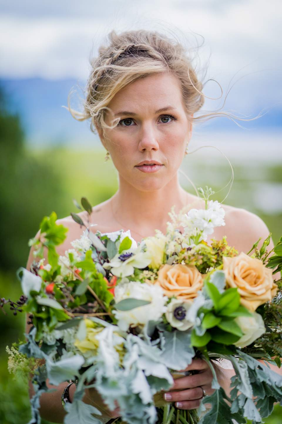 stoic portrait of bride