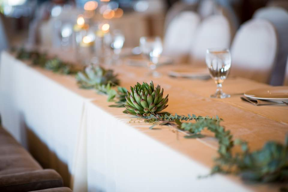 succulent head table decorations