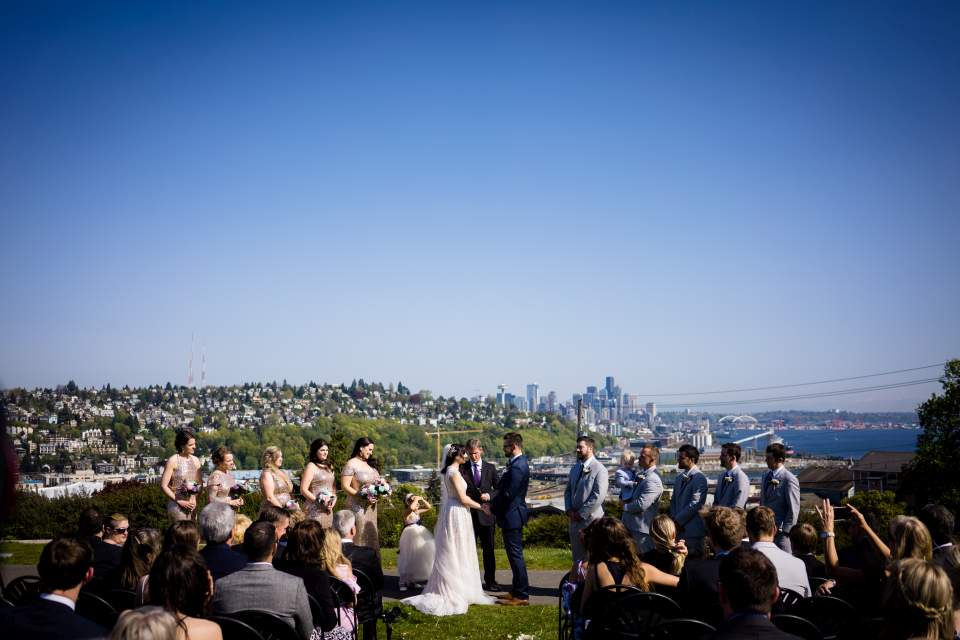 wedding at ella bailey park ceremony with seattle view