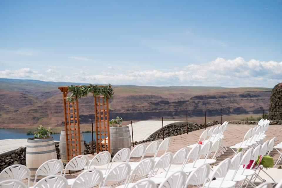 wedding ceremony space at cave b winery