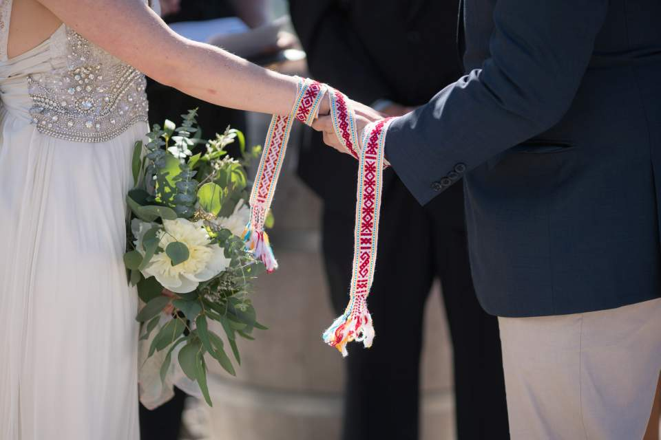 wedding couple with their hands fasted