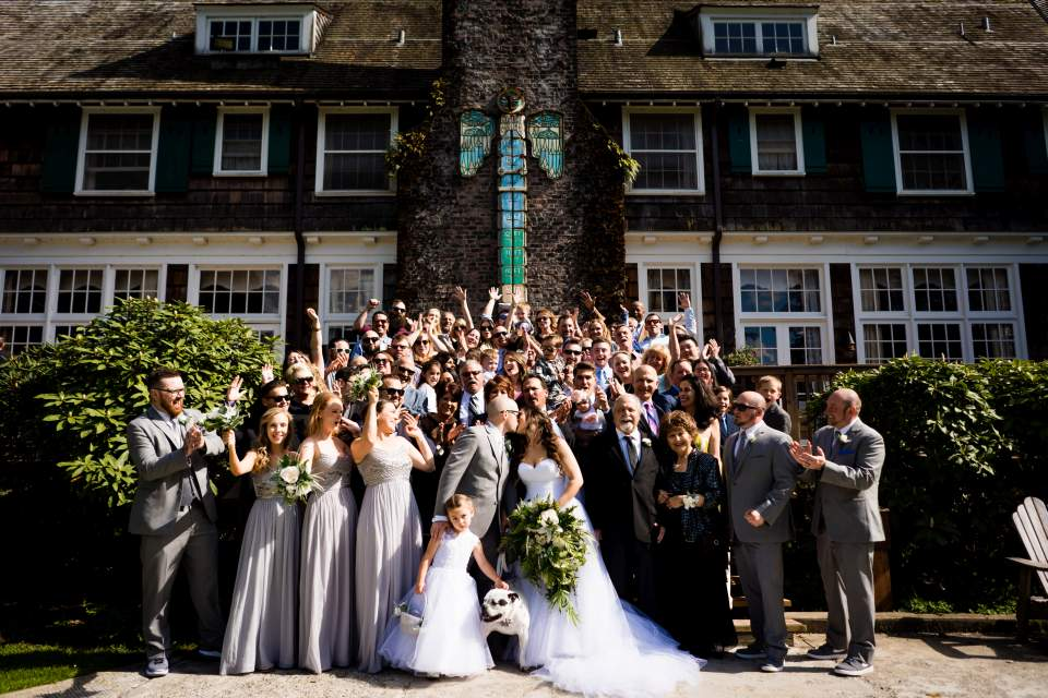 wedding large group shot lake quinault lodge