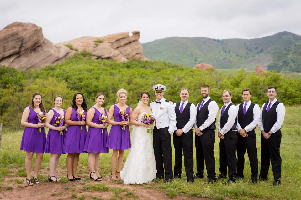 wedding party photo in red rocks park