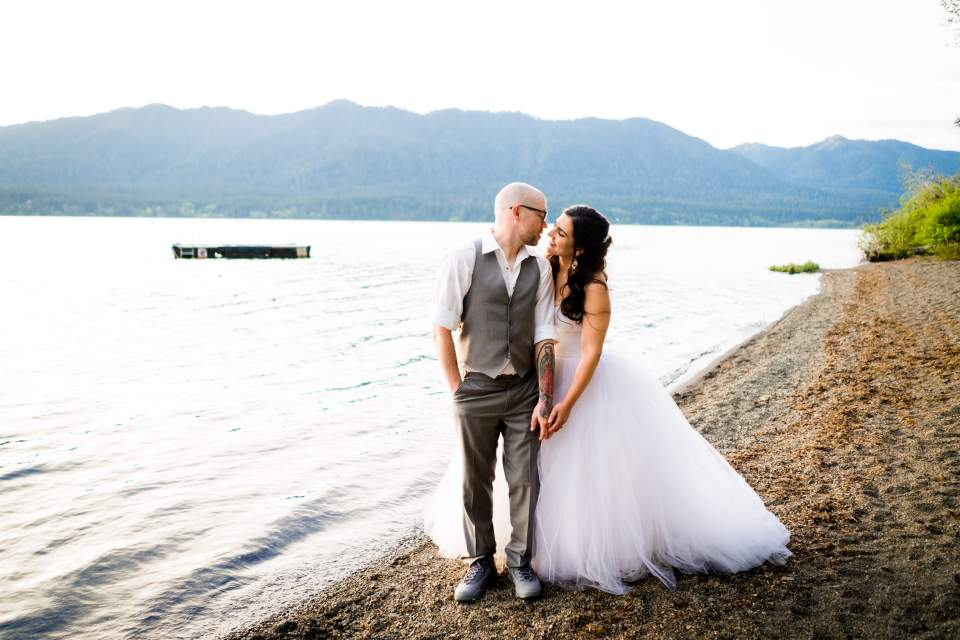 wedding photos on a beach lake quinault olympic national park